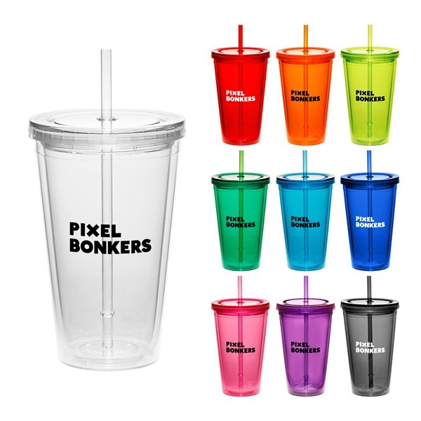 Promotional 17 oz Cup w / Straw Double Wall Tumbler