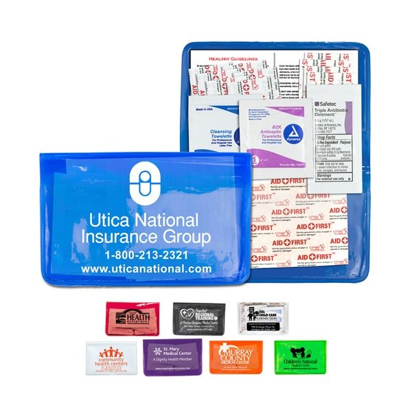 Promotional 15 Piece Economy First Aid Kit In Colorful Vinyl Pouch