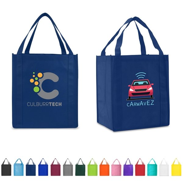 Promotional Non Woven Multi Color Saturn Jumbo Grocery Tote Bag 13 X 15