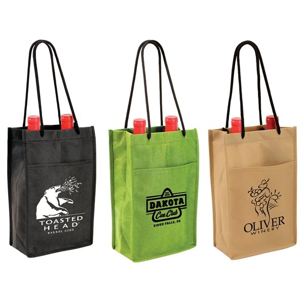 Promotional Non - Woven Double Bottle Wine Bag