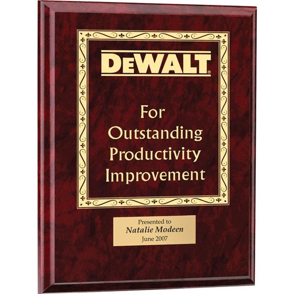 Promotional Wood Plaque - Ruby Marbel Finish and Ruby Plate