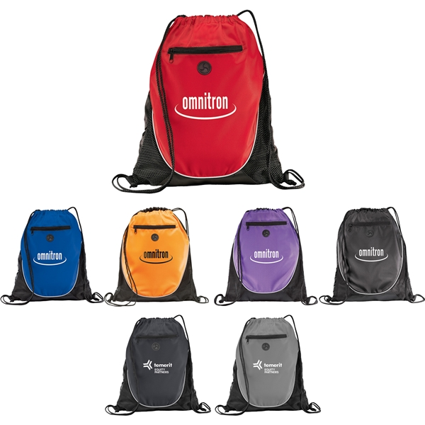Promotional Polyester Multi Color The Peek Drawstring Cinch Backpack 14 X 17