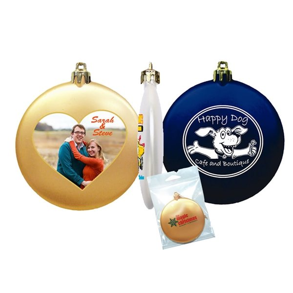 """3"""" Flat Shatterproof Ornament With Multiple Color Choices"""