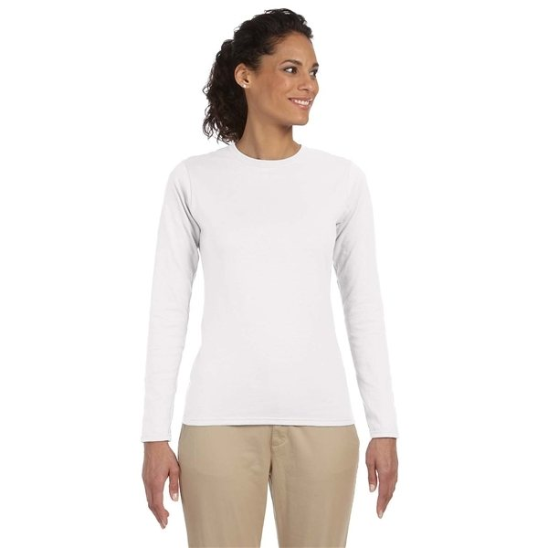 Promotional Gildan 4.5 oz SoftStyle Junior Fit Long - Sleeve T - Shirt (White)