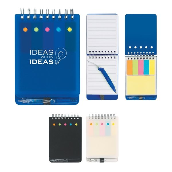 Promotional Spiral Jotter With Sticky Notes, Flags Pen
