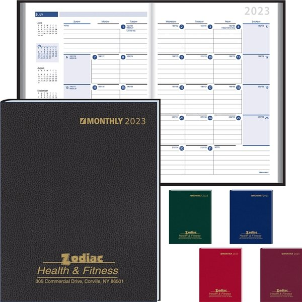 Promotional Ruled Monthly Format Stitched To Cover Desk Planner 2022