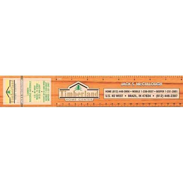 Promotional Wood - 8 Ruler with perf. Business Card Magnet - Ruler Magnets