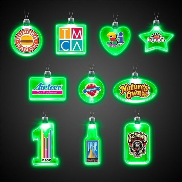 Promotional 24 LIGHT UP PENDANT NECKLACES - Green