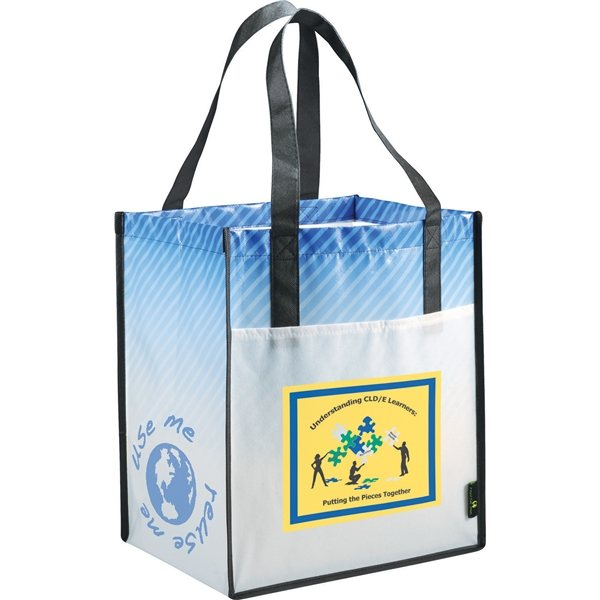 Promotional Big Grocery Striped Laminated Non - Woven Tote