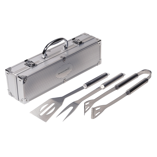 Promotional 3 Piece Barbeque (BBQ) Set with Aluminum Case