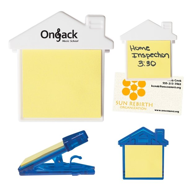 Promotional House Clip With Sticky Notes