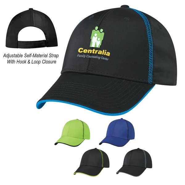 Promotional 100 Polyester Contrast Stitch Cap