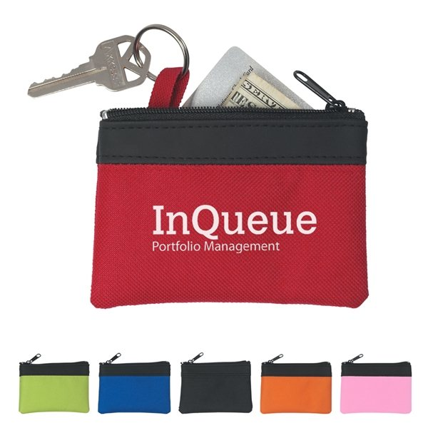 Promotional PVC And 600D Polyester Zippered Coin Pouch
