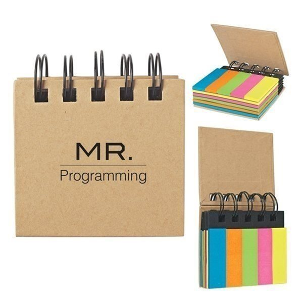 Promotional Spiral Book With Sticky Notes And Flags