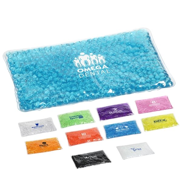 Promotional Large Rectangle Aqua Pearls Hot / Cold Pack