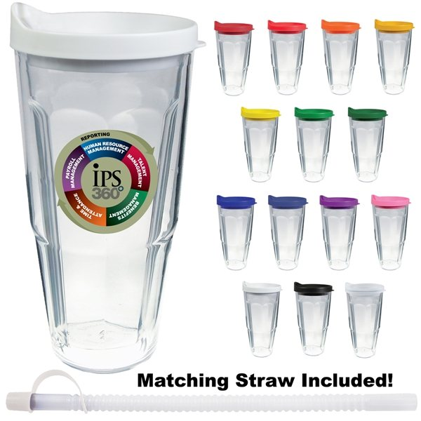 Promotional 24 oz Thermal Travel Tumbler With Custom Decal - Plastic