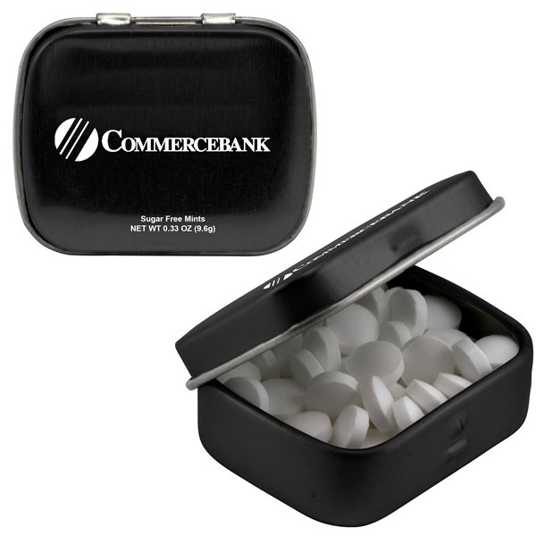Promotional Mini Hinged Mints With Multiple Tin Color, Decal, Flavor Options