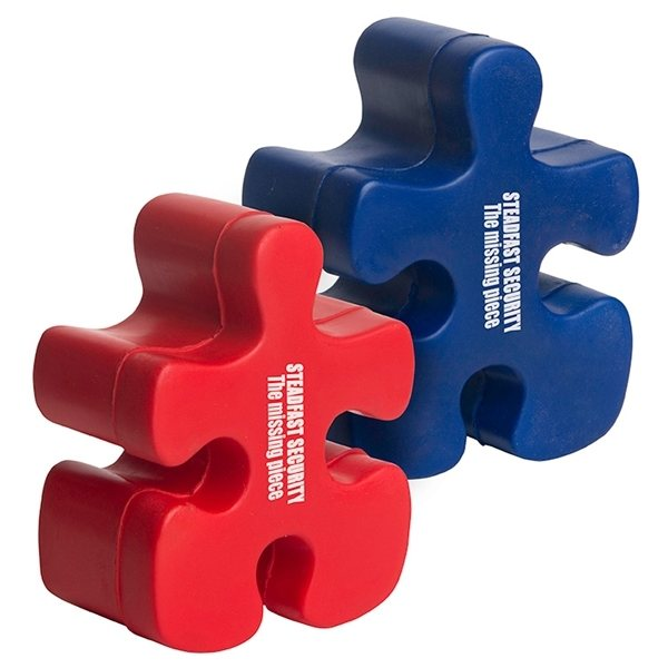 Promotional Puzzle Piece Squeezie - Red or Blue - Stress reliever