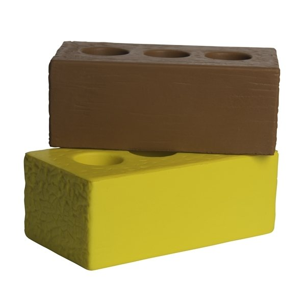 Promotional Brick Squeezies Stress Reliever - Red or Yellow
