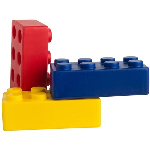 Promotional Construction Block Squeezies - Red, Blue or Yellow - Stress reliever