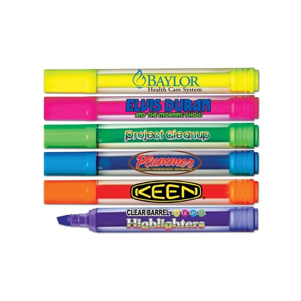 Promotional Brite - Spots(R) Broad Tip Jumbo Fluorescent Highlighters - Clear Barrel - Full Color Decal Print - USA Made