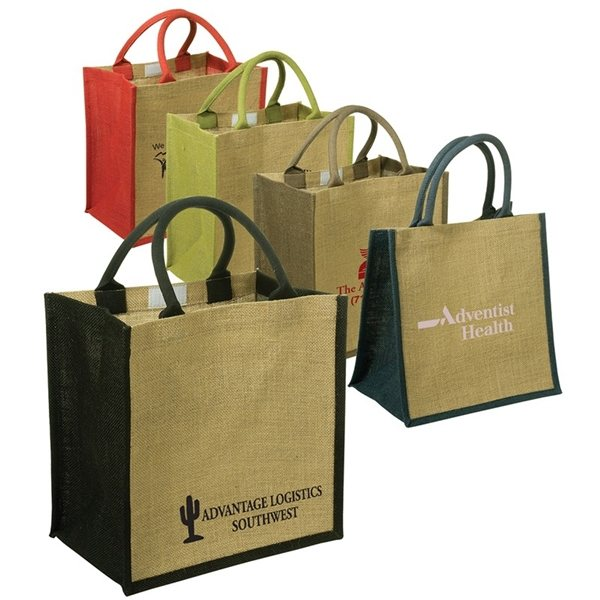 Promotional Custom Junior Jute Tote With Multi Color 11.9 X 12