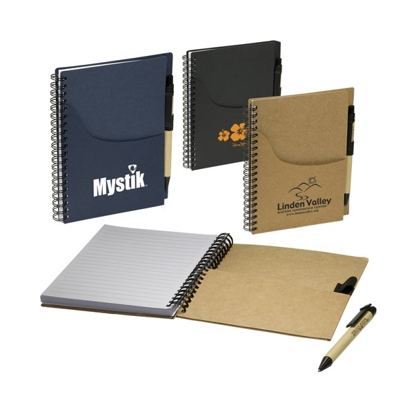 Promotional Eco Handy Jotter with Pockets / Pen Combo