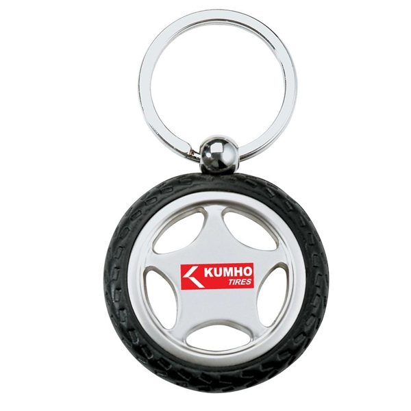 Promotional Rubber / Metal Tire Key Chain