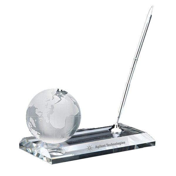 Promotional Crystal Globe Pen Stand Set