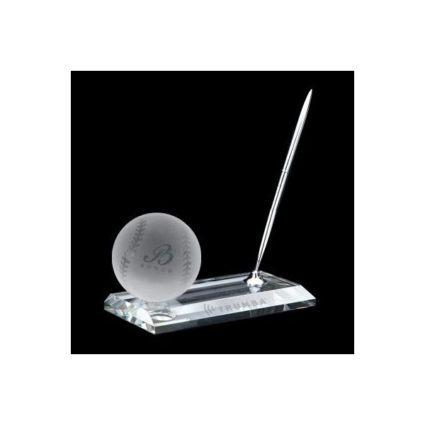Promotional Crystal Baseball Pen Stand Set