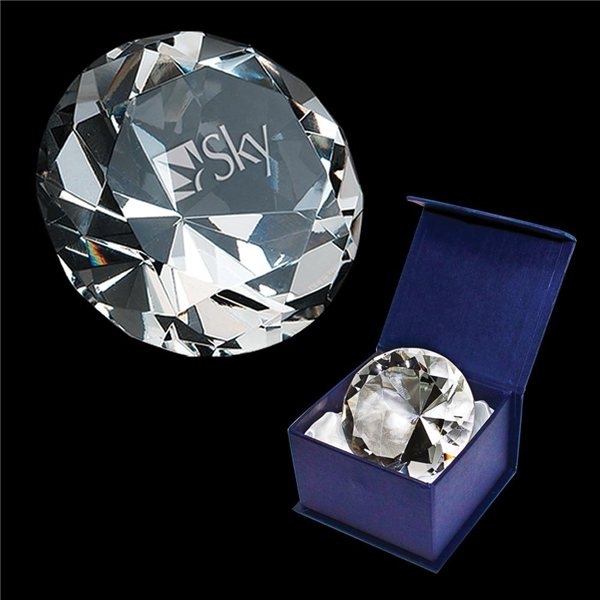 Promotional Crystal Diamond Paperweight (Clear)
