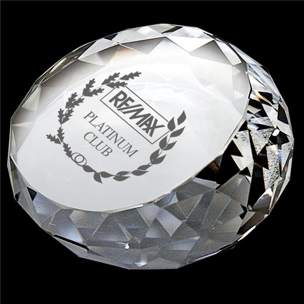 Promotional Round Diamond Crystal Paperweight