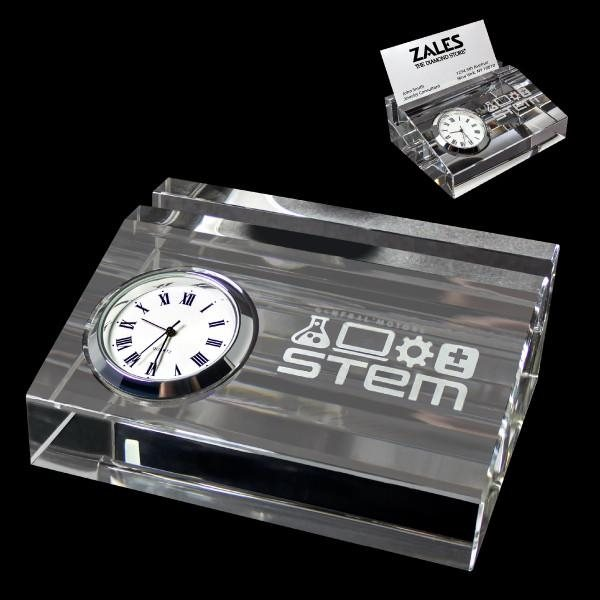 Promotional Crystal Card Holder With Clock