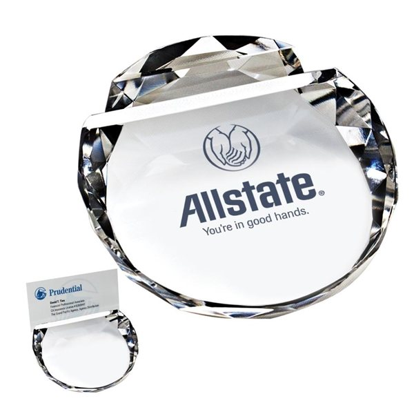 Promotional Crystal Paperweight / Card Holder