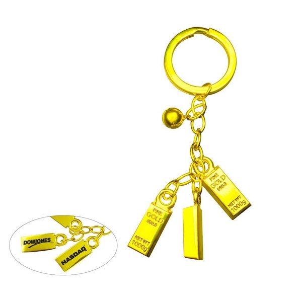Promotional Gold Bar Bell Keychain