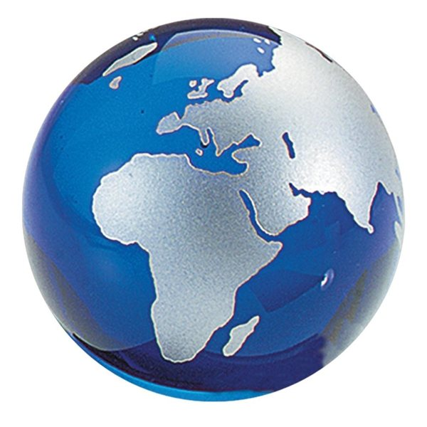 Promotional Crystal Globe Paperweight - Blue W / Silver