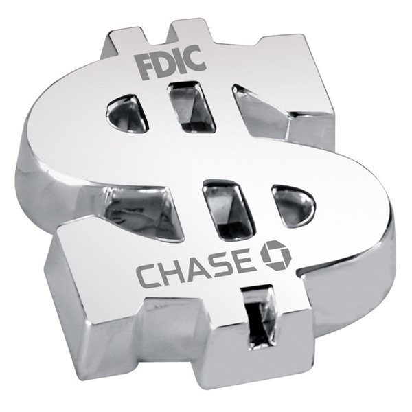 Promotional Silver Plated Dollar Sign Paperweight