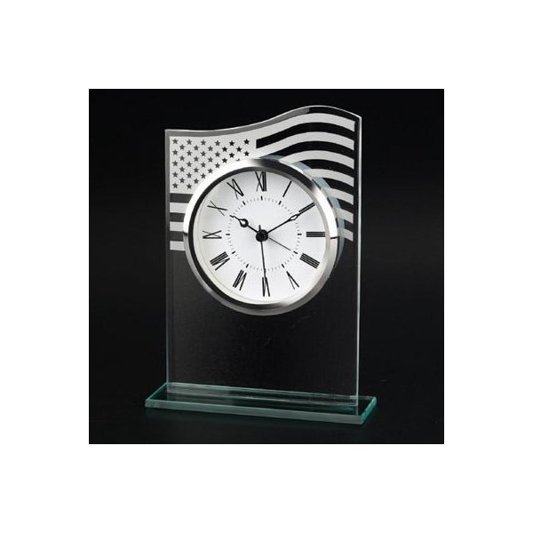 Promotional US Flag Glass Clock