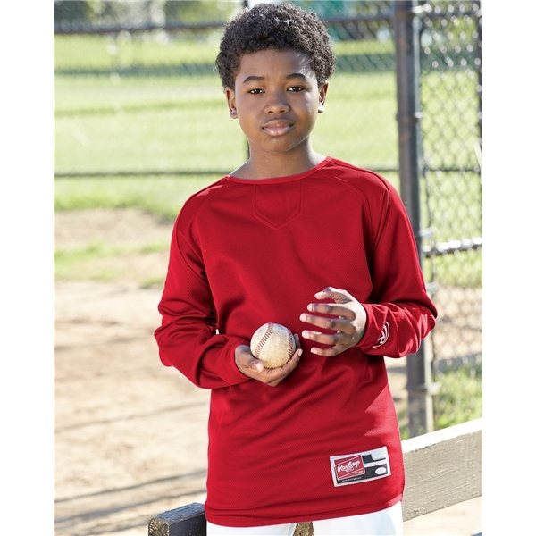Promotional Rawlings - Youth Long Sleeve Flatback Mesh Fleece Pullover