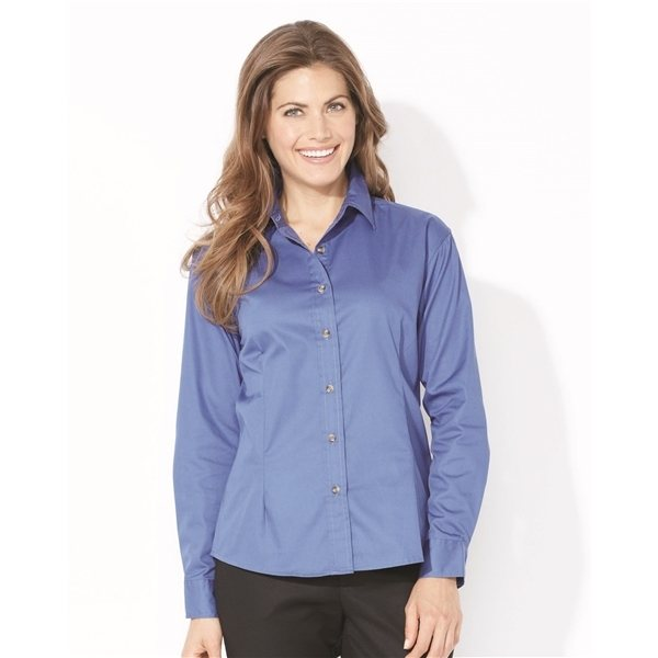 Promotional FeatherLite Ladies Long Sleeve Stain Resistant Tapered Twill Shirt
