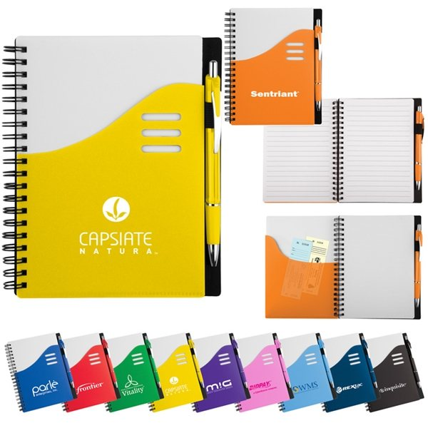 Promotional Wave Notebook Ballpoint Stylus