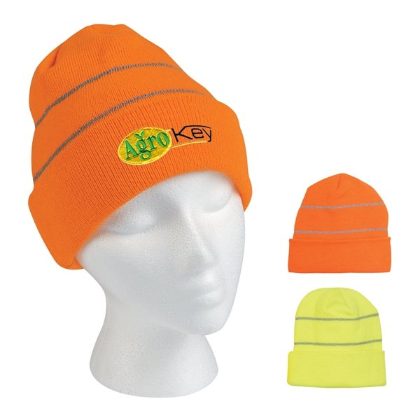 Promotional Knit Beanie With Reflective Stripes