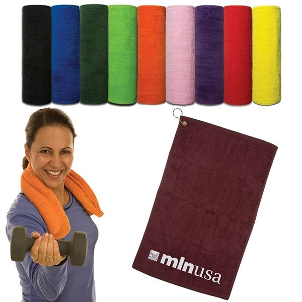 Promotional Hand Towel With Grommet - Dark Colors