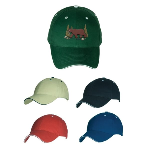 Promotional 6- Panel Structured Cotton Cap With Sandwich Visor