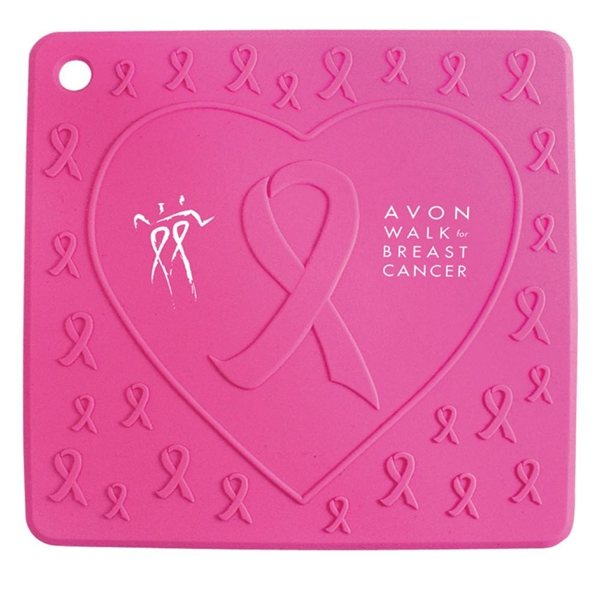 Promotional Pink Ribbon Silicone Trivet