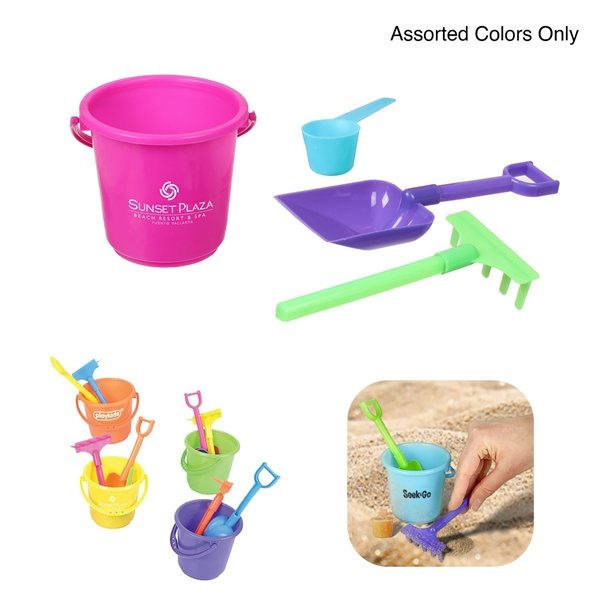 Promotional Mini Bucket Beach Play Set with Rake and scoop