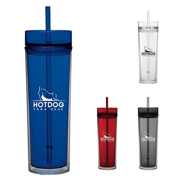Promotional 16 oz Tube Tumbler with Straw