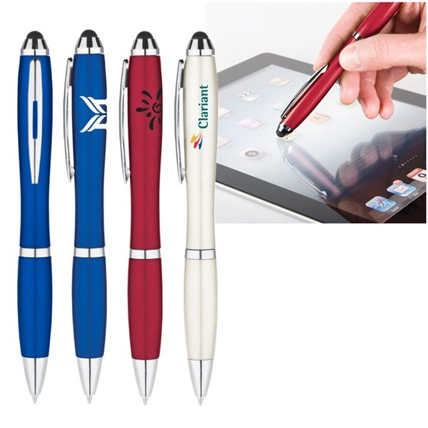Promotional Metallic Curvaceous Stylus Gel Pen