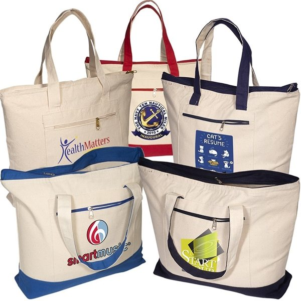 Promotional Zippered Cotton Boat Tote