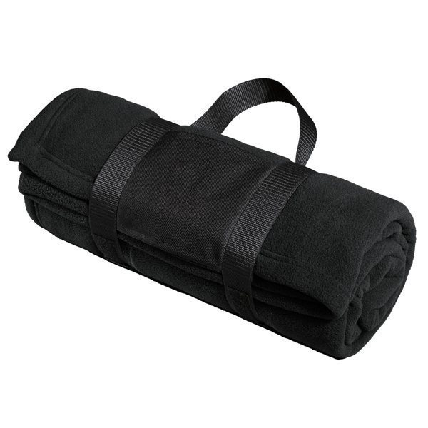 Promotional Port Authority Fleece Blanket with Carrying Strap